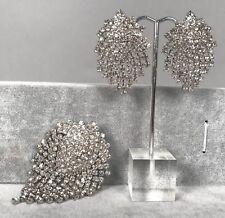 "Vintage Earrings Pin Brooch Set - White Rhinestone Dangle Tassels 3""x.2.3"" 45.1g"