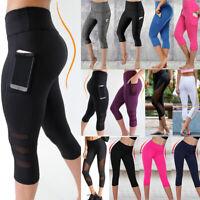 Women Sport Mesh Capri YOGA Pants Workout Gym Fitness Leggings Jumpsuit Athletic