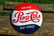 """Pepsi-Cola Button Embossed Tin Metal Sign - 14 1/2""""- Drink Ice Cold - Soda Retro"""
