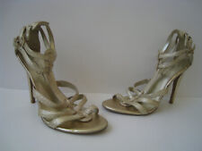 """JESSICA SIMPSON ALAYA GOLD LEATHER CAGE SANDALS 4"""" HEELS SIZE US 8.5B SUPER HOT"""