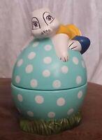 Vtg Easter Bunny On Turquoise Polka Dot Egg Covered Candy Dish Ceramic