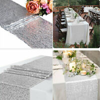 Glitter Silver Sequin Table Runner Cloth Sparkly Wedding Xmas Party Decor 12x72""