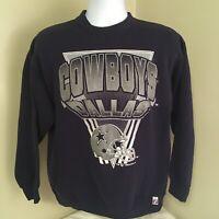 Vtg 1992 90s Logo 7 Mens Dallas Cowboys Sweatshirt NFL Large Blue Free Shipping!