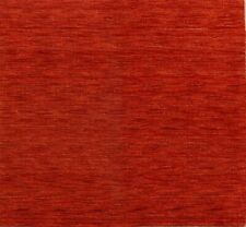 Solid Scarlet Red Contemporary Gabbeh Square Area Rug Hand-Knotted Wool 5'x5'