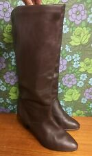 Vintage Soft Brown Leather Zip Up Heel Tall Boots Sz UK 6.5