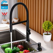 Black Kitchen Sink Mixer Taps Deck Mounted Bar Swivel Spring Pull Out Sprayer