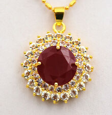 Fashion white crystal & red ruby Manual mosaic with gold - plated pendant