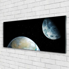 Glasbilder Wandbild Druck auf Glas 125x50 Mond Erde Weltall Weltall