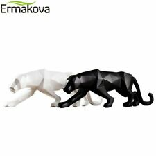 Panther Statue Animal Figurine Abstract Geometricx Style Resin Leopard Sculpture