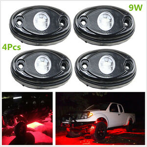 4 Pcs 9W LED Rock Light for JEEP Off Road Truck Under Body Chassis lights