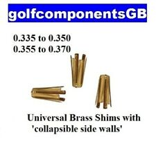 3 x BRASS GOLF SHAFT ADAPTOR SHIMS FOR TAPER IRON SHAFTS - CONVERTS .355 to .370