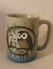 Vintage Two Owls on a Branch Mug 8 oz Coffee Cup Ceramic Stoneware Brown Blue