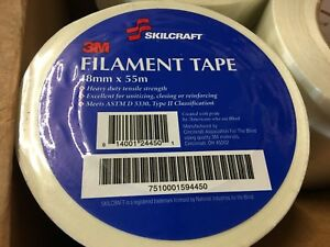 Case of 24 Rolls Skilcraft 3M Filament Tape, 48mm x 55m, White 7510001594450