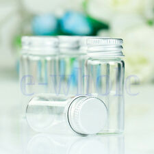 10Pcs Small Tiny Empty Clear Bottles Glass Vials 22x50mm With Screw Cap 10ml DT