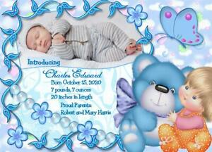 15 Personalized Baby Boy Birth Announcement Cards name photo weight lengt parent