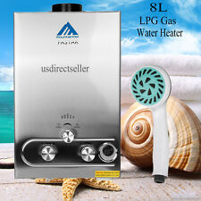8L 2GPM LPG Gas Instant Tankless Hot Water Heater Boiler Household Stainless