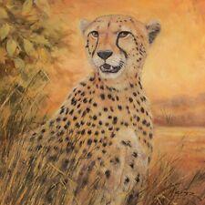 Wand Bild A. Heins Tiere Wildtiere Raubkatze Malerei Ocker 49x49x1,2 cm D1KB