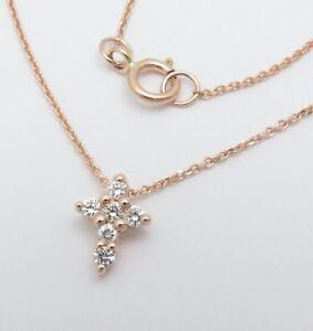 "14K ROSE GOLD TINY DIAMOND CROSS PENDANT NECKLACE 16""-18""  VS-SI1 GENUINE Solid"