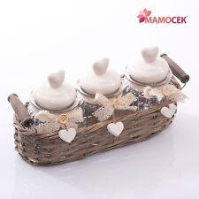 CESTINO VIMINI grigio 3 BARATTOLI VASETTO VETRO coperchio ceramica CUORE Shabby