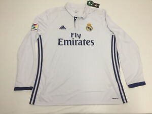 NWT Men's Real Madrid White Jersey 2016 Soccer Sz XL Football Shirt  Longsleeve