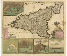 Carta geografica originale Italia Sicilia Witt Frederic 1695ca