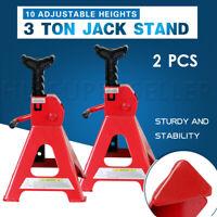 2PCS Heavy Duty Car Lifting Stand 3Ton Floor Jack Ratchet Adjustable Hoist Steel