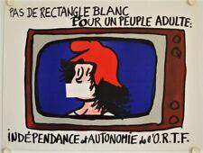Affiche PAS DE RECTANGLE BLANC - INDÉPENDANCE ORTF 1968 illustr. JEAN EFFEL