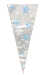 20 x Christmas Winter Snowflake Cone Shape Cello Sweets Favour Bags Food Safe