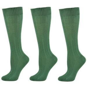 Sierra Socks Women's Cable Knit 3 Pair Pack Cotton Soft Durable Knee Hi Socks