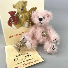 """""""Teddy Rosa"""" Hermann Teddy Original Limited Edition Miniature Bear - Boxed + COA"""