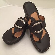 Born Woman's Wedge Thong Sandals - Brown Leather - Size 7 M/W NWOB