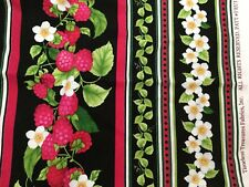 Timeless Treasures Fabric Fruit-C Raspberries Pink Black Green 22x32 Quilting