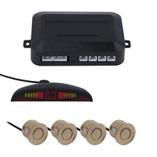 4 Parking Sensors Kit Car Backup Rear Reverse Radar System +LED Display Gold