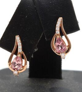 0.72 Carat Natural Morganite and Diamonds in 14K Solid Rose Gold Women Earrings