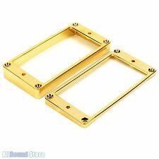 NEW Metal Humbucker Pickup Ring Set Slanted & Curved Bottom for Les Paul - GOLD