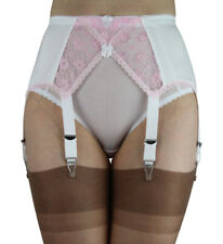 Suspender Belt White Pink Garter Belt from 4 up to 8 straps Crossover