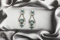 Boucles d'Oreilles Argenté Art Deco Chandelier Ethnique Vert Emeraude Retro A1