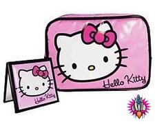 NUOVO Hello Kitty Cool Borsa Cosmetici Viola e Specchio Trucco Make Up Bag Set