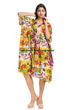 Womens Ladies 100% Cotton Summer Celebrity Floral Style Maxi Short Kaftan Dress