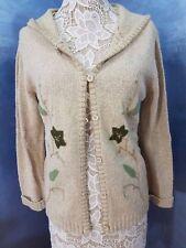 Villager Cardigan Hooded Sweater Ladies Medium Leaf Pattern Beige