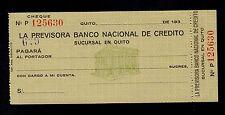 ECUADOR  CHECK BANCO LA PREVISORA 193x UNC.