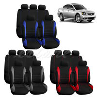 9 part Car Seat Covers Red Set for Auto w/Steering Wheel/Belt Pad/Head Rests