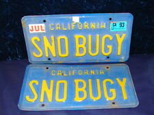 "VTG 1970's PAIR CA Automobile License Plates ID Tags ""SNO BUGY"" DMV Clear! FUN!!"