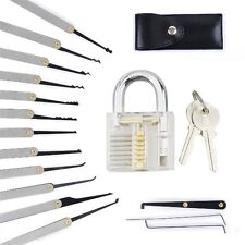 12 PACK Stainless Steel Lock Pick Tools Set Transparent Training Padlock W Pouch