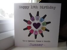 Handmade Personalised Girls Nail Nails Polish Birthday Card 13th 14th 15th 16th