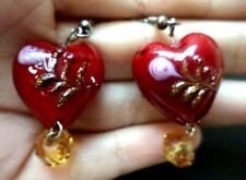 "Beaded 1 1/2"" Hook Earrings! 3552R Stunning Vintage Estate Glass Heart Love"