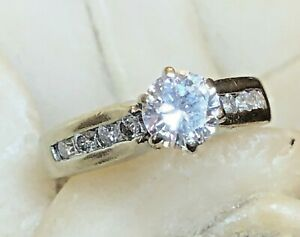ESTATE 14K  WHITE GOLD NATURAL DIAMOND RING ENGAGEMENT WEDDING  APPRAISAL