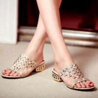 Women Summer Rhinestone Wedge Heel Sandals Flip Flops Slippers Party Shoes Size