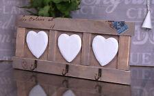 Shabby Chic Wooden Key Rack  KEYS Holder Storage Heart Hooks #66