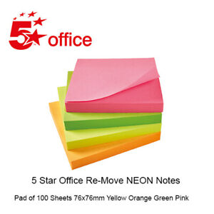 Sticky Notes Re-Move Repositionable 5 Star Office 100 Sheets 76x76mm